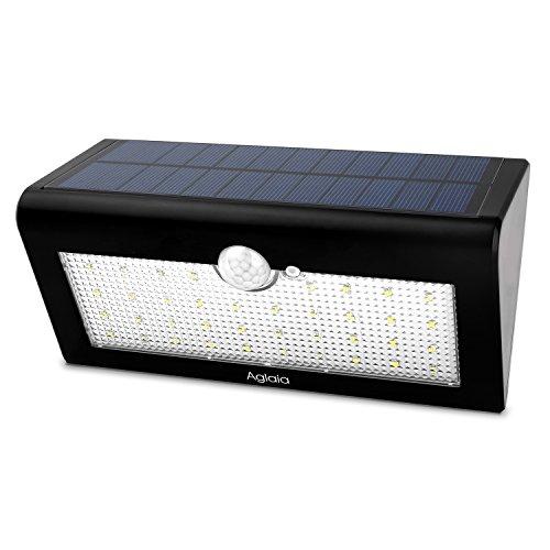 Aglaia Luce Solare da Esterno con 38 LED, 4W Lampada Solare da Parete con Sensore di Movimento, Applique Lampada ad Energia Solare per Giardino, Cortile, Patio, Corridoio, Scale, Fuori Muro ecc.