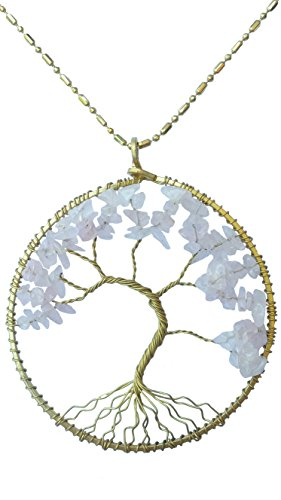 DEW Drops Simulated Rose Quartz Tree of life Pendant Brass Long Necklace Gemstone Chakra Jewelry