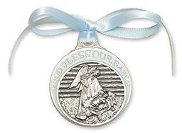 Pewter Baby in Manger Crib Medal with Blue Ribbon Medallion