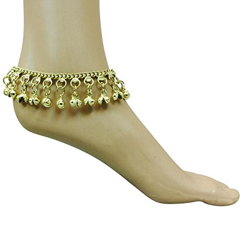 Belly Dance Indian Chain Anklet Silver / Gold Adjustable with Jingling Bells