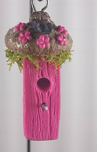 Fairy garden miniature bird house. Pink with acorn cap roof. Fairy garden accessories, terrarium décor.