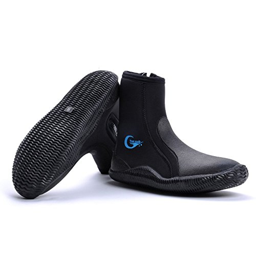 Water Shoes/Water Booties with Fin Strap Holder, Freehawk Wetsuits Premium Neoprene 5mm Hi Top Zipper Boot with Anti-slip Rubber Soles for Scuba Diving, Snorkeling,Surfing,Boating (5) (Crock Skin compare prices)