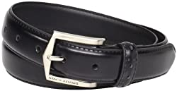 Stacy Adams Men's 30mm Pinseal Leather Belt With Pinhold Design, Black, 34