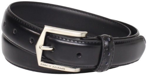 Stacy Adams Men's Plus-Size 30 MM Pinseal Leather Belt with Brushed Nickel Buckle, Black, 48