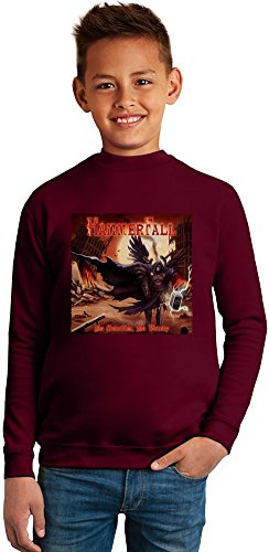 HammerFall Album Superb Quality Boys Sweater by TRUE FANS APPAREL - 50% Cotton & 50% Polyester- Set-In Sleeves- Open End Yarn- Unisex for Boys and Girls 8-9 years