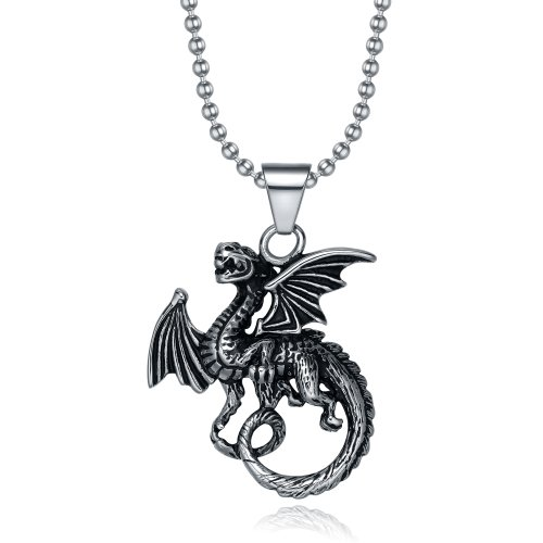 TIGRADE Stainless Steel Flying Pterosaur Dragon Pendant Necklace with Ball Chain 20″