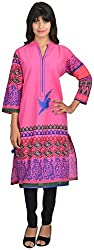 Goodyygoods Women's Cotton Regular Fit Kurti (GG 18, Pink, X-Large)