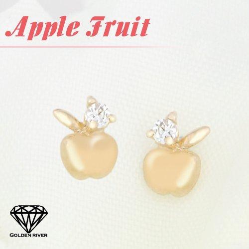 RISAcrystal(リサクリスタル) 完熟 黄金 りんご リンゴ 林檎 10金 K10 ゴールド ピアス