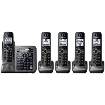 Panasonic KX-TG7645M DECT 6.0 Plus Link-to-Cell Bluetooth Cellular Convergence Solution w/5 Handsets