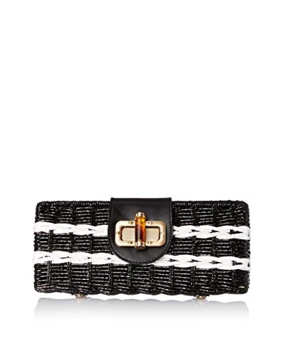 Carmen Marc Valvo Women's Clutch With Leather Trim, Black with White