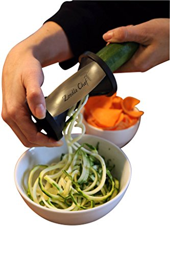 Zoodle Chef Premium Vegetable Spiralizer,Sale Price Spiral Slicer, Zucchini Noodle, Spaghetti and Pasta Maker, Creates Zoodles and Chips (Florette) Recipe Ebook and Cleaning Brush Included. Try It Risk Free
