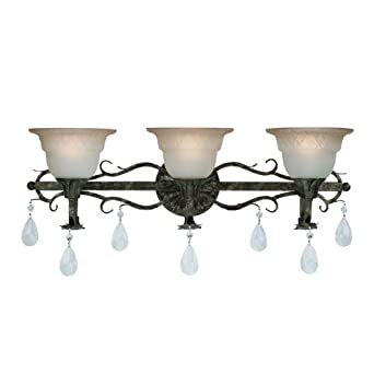 Jeremiah 24403 pm windfield 3 light crystal bathroom vanity lighting fixture bronze glass for Crystal bathroom vanity light fixtures