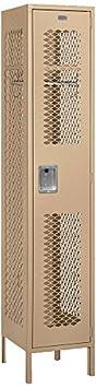 Salsbury Industries 81168TN-U Single Tier 1-Inch Wide 6-Feet High 18-Inch Deep Unassembled Extra Wide Vented Metal Locker, Tan Brown
