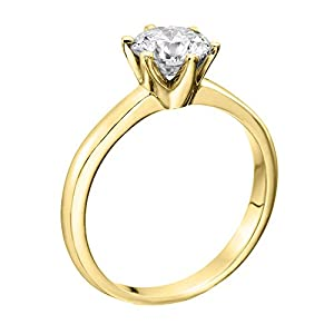 GIA Certified 14k yellow-gold Round Cut Diamond Engagement Ring (1.11 cttw, G Color, SI1 Clarity)