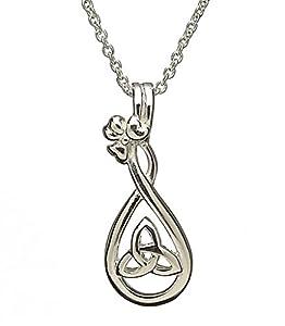 Celtic Trinité noeud et Shamrock pendentif en argent avec une chaîne 45.5cm d'argent. Coffret cadeau