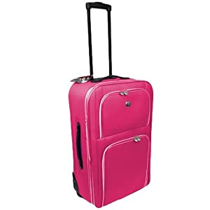 Wheeled Medium 25 Expandable Lightweight Suitcase Trolley With Locking Telescopic Handle Internal Trolley Frame With External Pockets In Pink With Silver Detail