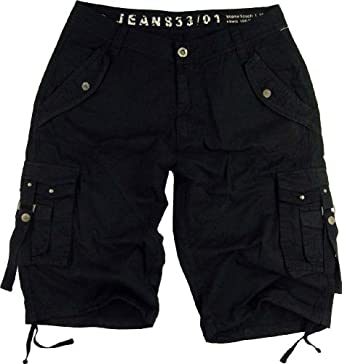 Mens Cargo Pocket Shorts Military-Style Black Color #A8s-bk Size:30