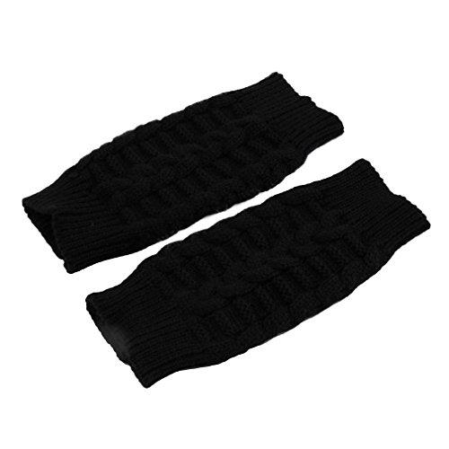 Chakit Fashion Soft Warm Mitten Unisex Men Women Knitted Fingerless Winter Gloves (Black)