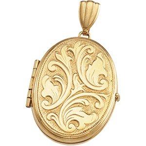 14K Yellow Gold 26.00X19.00 MM Oval Medium Embossed Locket Ring Size 6