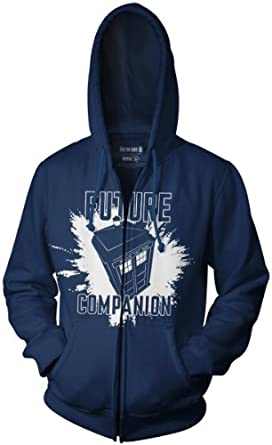 Doctor Who Future Companion Tardis Zip up Hoodie (Small, Navy Blue)