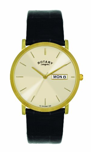 Rotary Men's Quartz Watch with Beige Dial Analogue Display and Black Leather Strap GS02624/03/DD