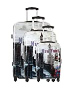 TRAVEL ONE Set de 3 trolleys rígidos Imprime Macclesfield (Gris)