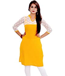 INDIA FASHION SHOP YELLOW WHITE BRASSO COTTON KURTI--