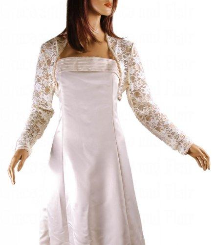 Grace and Flair Ivory French Long Sleeve Lace Bolero Shrug
