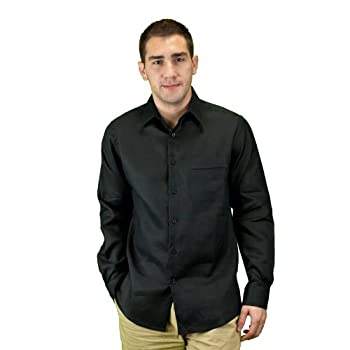 Mens black shirt in linen, long sleeve.