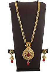 Anuradha Art Pin-Green Colour Styled With Wonderful Long Necklace Set For Women/Girls