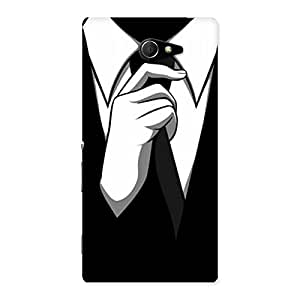 Ajay Enterprises Tie Coat Hand Back Case Cover for Sony Xperia M2