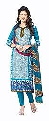 Varsha Women's Chiffon Unstitched Dress Material (Sky Blue)