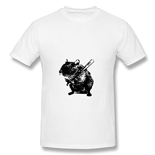 Fqy Mens Animal Angry Mouse Cotton Round Collar T Shirt 21 White