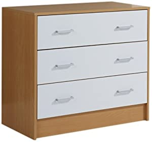 Mountrose  Oslo Beech 3 Drawer Chest, White Gloss
