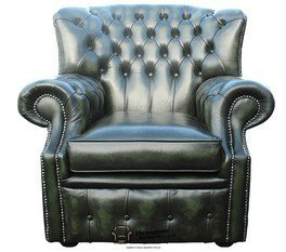 Chesterfield Monks High Back Wing Chair Antique Green UK Manufactured Armchair