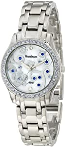 Armitron Women's 75/5010MPBS Light Blue Swarovski Crystal Accented Floral Print Dial Silver-Tone Bracelet Watch