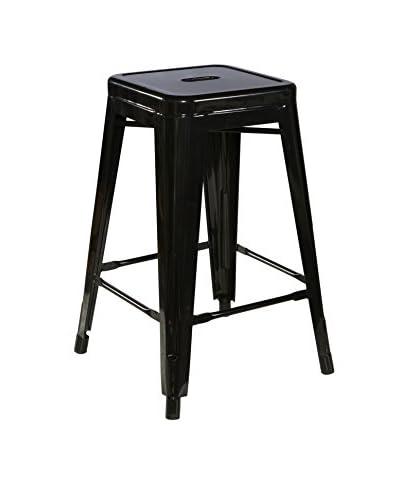 Linon Home Décor Square Metal Bar Stool, Black