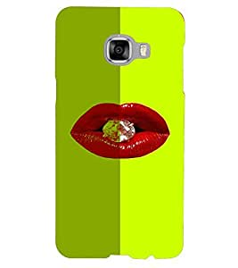 PrintVisa Hot & Sexy Lips Diamond 3D Hard Polycarbonate Designer Back Case Cover for Samsung C5