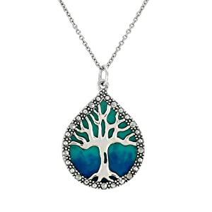 Sterling Silver Marcasite and Blue Epoxy Tree of Life Pendant, 18""