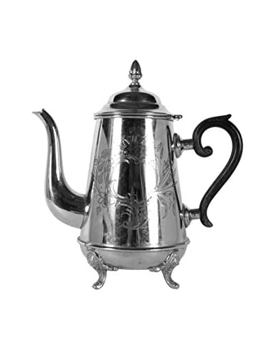 Vintage Footed Silver-Plate Teapot, Silver