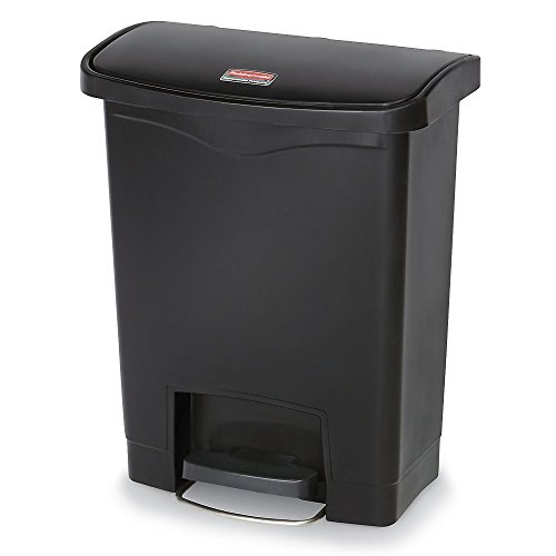 rubbermaid commercial slim jim front step on trash can plastic 13 gallon black home garden. Black Bedroom Furniture Sets. Home Design Ideas