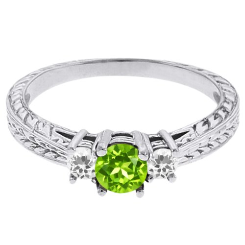 0.58 Ct Round Green Peridot White Topaz 14K White Gold 3-Stone Ring
