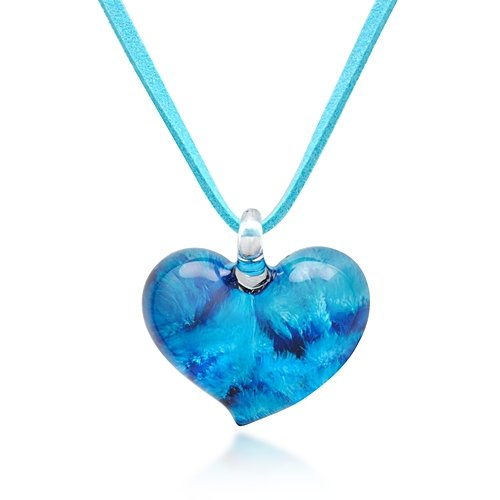 Hand Blown Venetian Murano Glass Blue Heart Shaped Pendant Necklace, 18-20 inches (Italian Blown Glass Necklace compare prices)