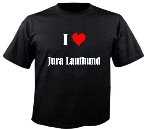 """Kinder T-Shirt """"I Love Jura Laufhund""""Größe""""128""""Farbe""""Schwarz""""Druck""""Weiss"""
