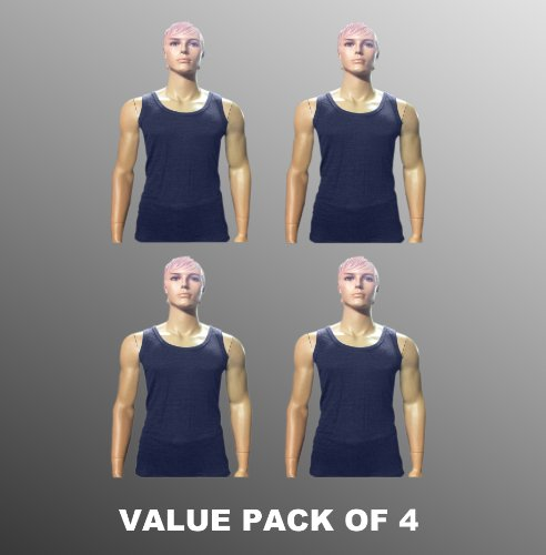 Value Pack Of 4 Thermal Underwear Sleeveless Vest Denim, Various Sizes
