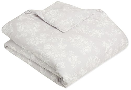 Read About AmazonBasics Printed Lightweight Flannel Duvet Cover - Full/Queen, Floral Grey