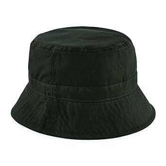 Amazon.com: Beechfield Mens Waxed Bucket Hat Dark Olive L ...