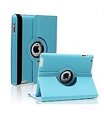 TGK 360 Degree Rotating Leather Case Cover Stand For iPad Mini Retina Display - Sky Blue