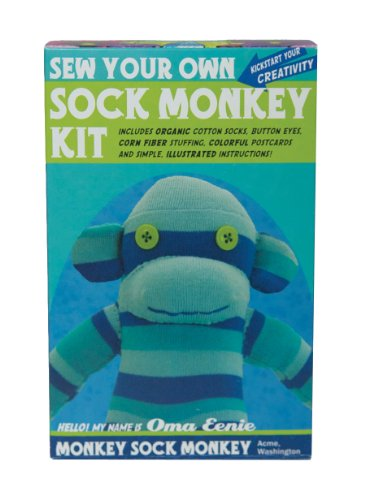 Sock Monkey Kit, Blue , Made in the USA