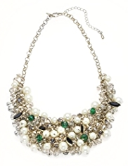 M&S Collection Pearl Effect Sparkle Cluster Necklace